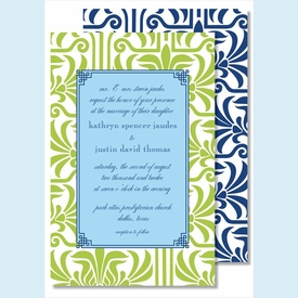 Lime Graphic Lily with Light Blue Flood Large Flat Invitation - click to enlarge