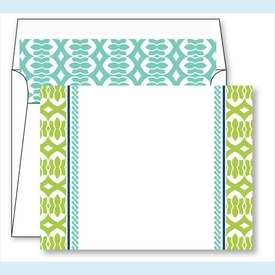 Lime Lattice Ribbon Border Small Flat Cards w/Coordinating Liner - click to enlarge