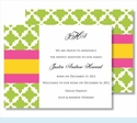 Lime Lattice w/Hot Pink/Yellow Stripe Small Flat Cards