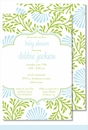 Lime/Light Blue Floral Large Flat Invitation