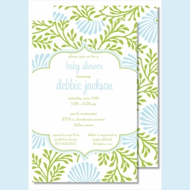 Lime/Light Blue Floral Large Flat Invitation - click to enlarge