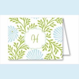 Lime/Light Blue Floral Note Cards - click to enlarge