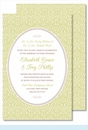 Lime Ornate Floral Large Flat Invitation