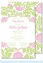 Lime/Pink Floral Large Flat Invitation