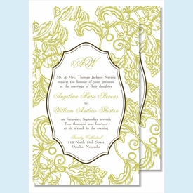Lime Wood Cut Floral Large Flat Invitation - click to enlarge