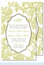 Lime Wood Cut Floral Large Flat Invitation
