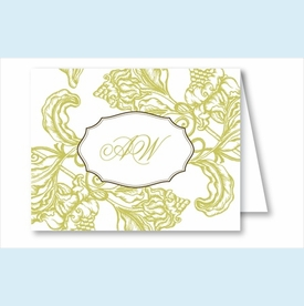 Lime Wood Cut Floral Note Cards - click to enlarge