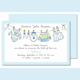 Little Boy's Clothes Large Flat Invitation - click to enlarge