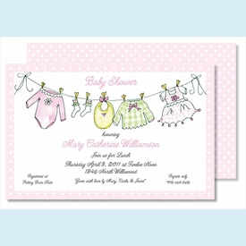 Little Girl's Clothes Large Flat Invitation - click to enlarge