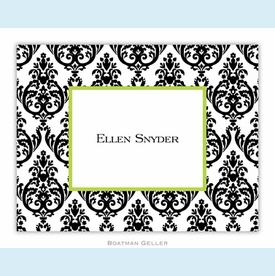 Madison Damask White with Black Folded Notes (set/25) - click to enlarge