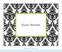 Madison Damask White with Black Folded Notes (set/25)