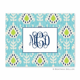 Mia Ikat Teal Folded Notes (set/25) - click to enlarge