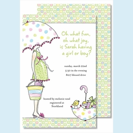 Mommy to Be-Multi Color Large Flat Invitation - click to enlarge