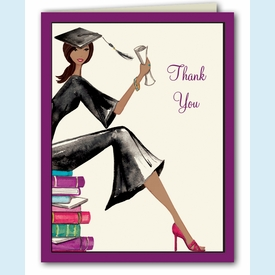 Multicultural Grad on Books Thank You  Notes - click to enlarge