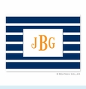 Nautical Stripe Navy & White Folded Notes (set/25)