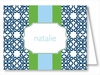 Navy Clover w/Kelly/Light Blue Stripe Note Cards