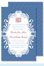Navy/ Light Blue Greek Key Large Flat Invitation