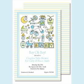 Oh Baby Boy Large Flat Invitation - click to enlarge
