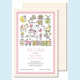 Oh Baby Girl Large Flat Invitation - click to enlarge
