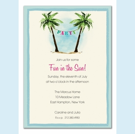 Palm Tree Party Banner Invitation - click to enlarge