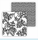 Paper Coasters - Black Wood Cut Floral