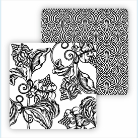 Paper Coasters - Black Wood Cut Floral - click to enlarge