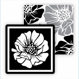 Paper Coasters - Gray/Black Poppy - click to enlarge