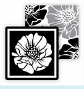 Paper Coasters - Gray/Black Poppy