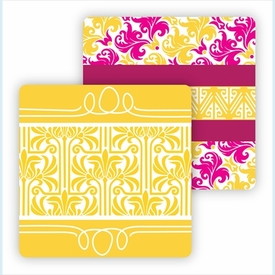 Paper Coasters - Hot Pink/Yellow Damask - click to enlarge