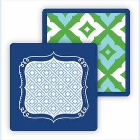 Paper Coasters - Kelly/Light Blue Fancy Diamond - click to enlarge