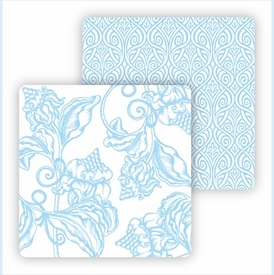 Paper Coasters - Light Blue Wood Cut Floral - click to enlarge