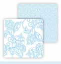 Paper Coasters - Light Blue Wood Cut Floral