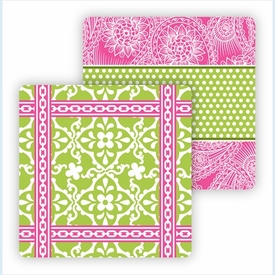 Paper Coasters - Lime Floral Tile - click to enlarge
