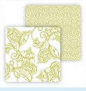 Paper Coasters - Lime Wood Cut Floral