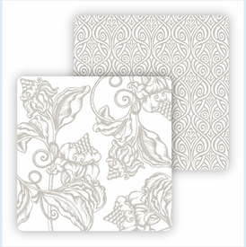 Paper Coasters - Pewter Wood Cut Floral - click to enlarge