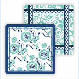 Paper Coasters - Turquoise Floral Vine - click to enlarge