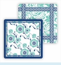 Paper Coasters - Turquoise Floral Vine