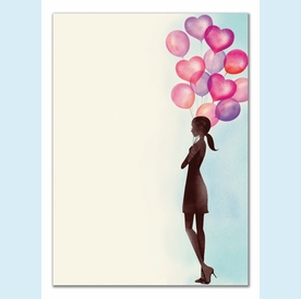 Party Balloon Girl Invitation - click to enlarge
