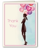 Party Balloon Girl Thank You Notes