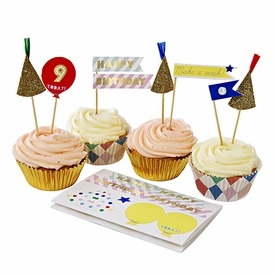Patterned Happy Birthday Sticker Cupcake Kit - click to enlarge