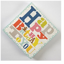 Patterned Happy Birthday Napkin - click to enlarge