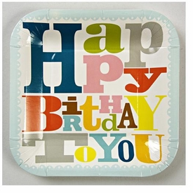 Patterned Happy Birthday Small Party Plates - click to enlarge
