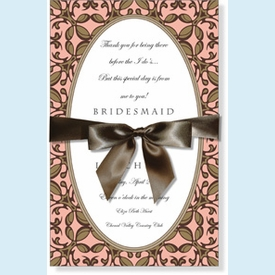 Peach & Brown Oval Empress w/Bow Invitation - click to enlarge