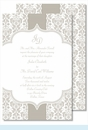 Pewter Botanical Ribbon Pattern Large Flat Invitation