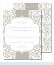Pewter Botanical Ribbon Pattern Small Flat Cards