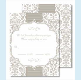 Pewter Botanical Ribbon Pattern Small Flat Cards - click to enlarge