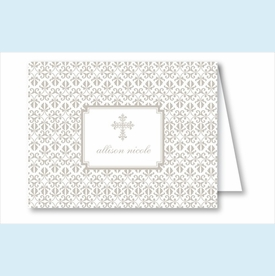 Pewter Cross Iron Scroll Pattern Note Cards - click to enlarge