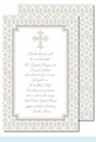 Pewter Cross with Iron Scroll Pattern Large Flat Invitation