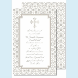 Pewter Cross with Iron Scroll Pattern Large Flat Invitation - click to enlarge