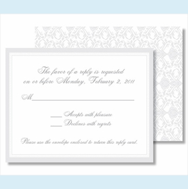 Pewter Elegant Border Small Flat Cards - click to enlarge